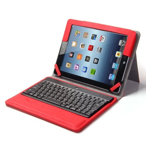 Lumsing Premium New Wireless Bluetooth Keyboard Folio Pu Leather Case Cover Magnetic Smart Stand For Ipad 2 New Apple Ipad 3 3Rd Gen & Ipad 4 Gen (Ipad 2/Ipad 3/Ipad 4, Red)