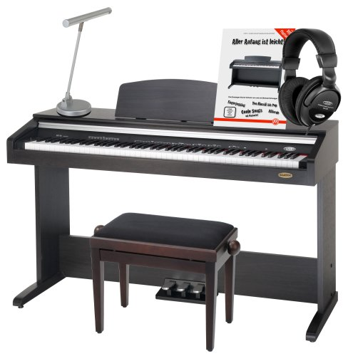 Classic Cantabile DP-30 88-Tasten Digitalpiano Rosenholz SET (E-Piano, 11 Sounds, USB to host, Metronom, 3 Pedale, Pianoleuchte silber matt, Pianobank, Schule)