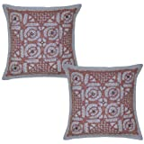 Patchwork Cut Work Mirror Work Cotton Cushion Covers 16 Inches 2 Pcs