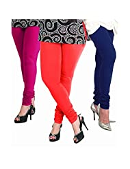 Lux Women Cotton Leggings -True Blue, Rani,Cherry. -Free Size (Set Of Three) L 25_33_42