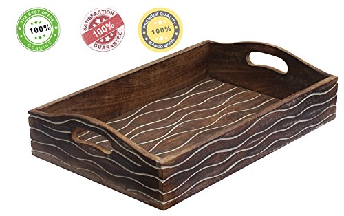 souvnear-handmade-wooden-service-tray-with-handles-11x15-inch-brown-wood-tray-decorated-with-wavy-pa