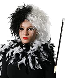 Cruella Fancy Dress Set Evil Dog Lady Black White Wig + Cigarette Holder + Black White Mixed Feather Boa 80g Look Like Cruella De Ville Evil Movie Character Costume