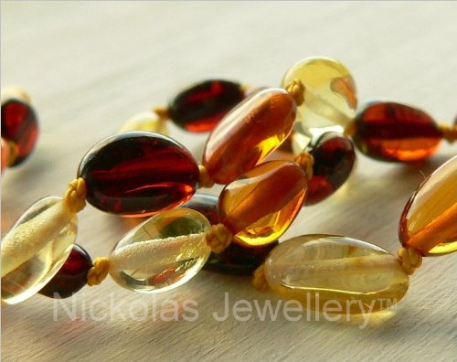 Baltic Amber Necklace - Polished Healing Beads Multicolour - Child size