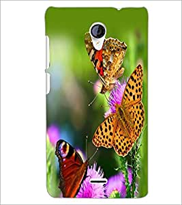 PrintDhaba Butterflies D-2331 Back Case Cover for MICROMAX A106 UNITE 2 (Multi-Coloured)