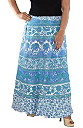 Aura Life Style Women Printed Cotton Long Wrap Around Skirt (ALSK5044W, Blue, Free Size)