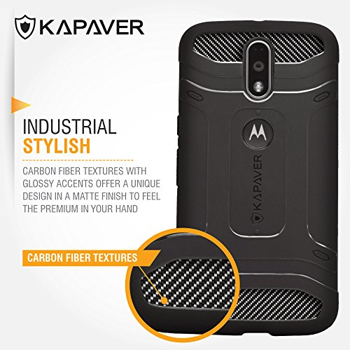 premium selection 111ef 5baee KAPAVER [ Moto G4 Plus ] [ Moto G4 ] Tough Rugged Case Cover - Solid Black  Shock Proof Bumper Case