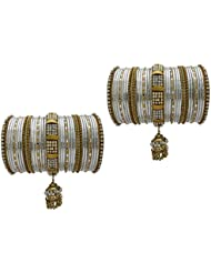 White Bridal Chura Wedding Bangles Chuda By My Design(size-2.4)