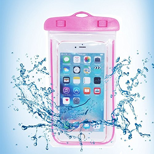 YONKY Universal Florescent Light Waterproof Pouch Case for iPhone 6 Plus 5s 5 5c 4 / Galaxy S6 S5 / Samsung / Note / HTC / LG,and Other Up to 6 inches Smartphones (Pink)