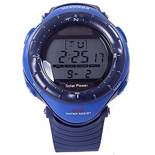 Hde Men'S Blue Solar-Powered 30M Water Resistant Chronograph Digital Watch