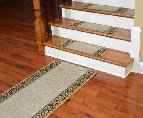 Dean Washable Non-Skid Carpet Stair Treads - Garden Path Beige (13) PLUS a Matching 5' Runner