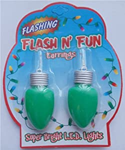 Flashing Earrings Christmas Lights - Green