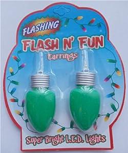 Flashing Earrings Christmas Lights - Green