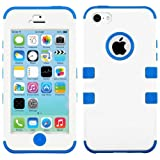 myLife (TM) Electric Blue and White - Flat Color Series (Neo Hypergrip Flex Gel) 3 Piece Case for iPhone 5/5S... by myLife Brand Products