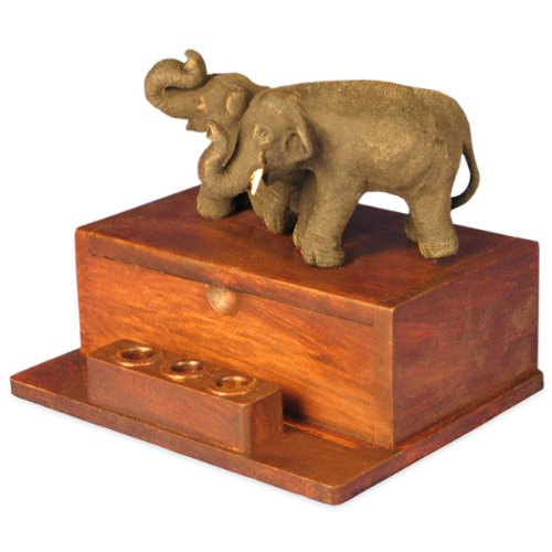 Carved Teak Wood Asian Elephants Desktop Pen & Card Holder