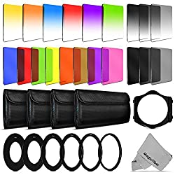 Complete Pro Square Filter Kit Compatible with Cokin P Series - Includes: 8 Graduated and 8 Full Color Filters (Red, Blue, Yellow, Pink, Green, Coffee, Orange, Purple) + 3 Graduated and 3 Full Neutral Density Filters (ND2, ND