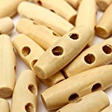 50pcs Wooden Knitting Buttons DIY Sewing Horn Toggle Clothes Buttons