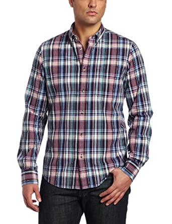 Ben Sherman Men's Long Sleeve Laundered Madras Check, Forged Iron, Small