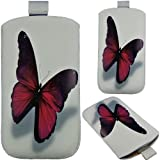 White Purple Butterfly Butterfly Frog Design Bag Cell Phone Pocket Phone Case - F, Sony Xperia V/Xperia T LT30i/Xperia ion LT28h/Xperia ZL/LTE/Xperia SP/Xperia L - Protective Sleeve Bag Cell Phone Pouch