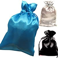Tarot Bags Summer Nights Colors Satin Bundle Of 3: Turquoise Black And Silver (6 X 9 Each)