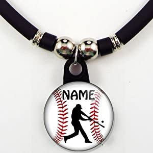 Personalized Baseball Batter Hitter Necklace with Your Name and Number by SpotlightJewels