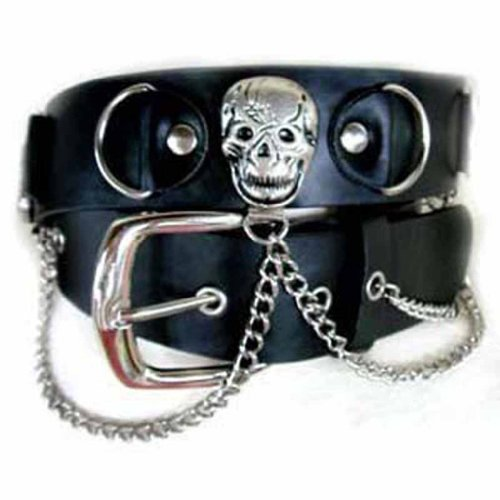 Luxury Divas Black Pirate Skull Chain Link Goth Grommet Belt Large