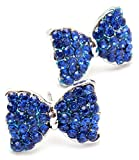 Adorable Pretty Princess Bow Stud Earrings with Sparkling Blue Crystals for Girls, Teens Fashion Jewelry