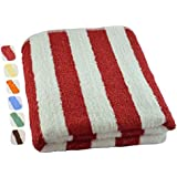 """Large Beach-Towel Pool-Towel in Cabana Stripe- Red, 100% Cotton, Easy Care, Maximum Softness and Absorbency (30"""" x 60"""") by Utopia Towel"""