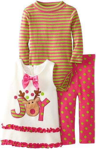 Bonnie Baby Baby-Girls Infant Reindeer Appliqued Fleece Legging Set, Fuchsia, 24 Months front-859768