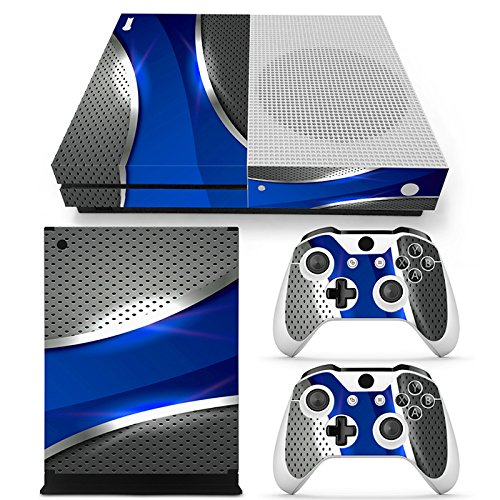 xbox-one-s-console-skin-decal-sticker-blue-chrome-2-controller-skins-set-matt-finished