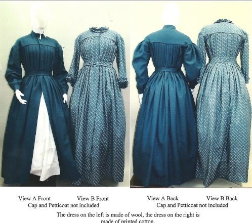 1840's-1860's Pleated Wrapper, Morning Gown, Work or Maternity Dress Pattern (Old Dresses For Women compare prices)