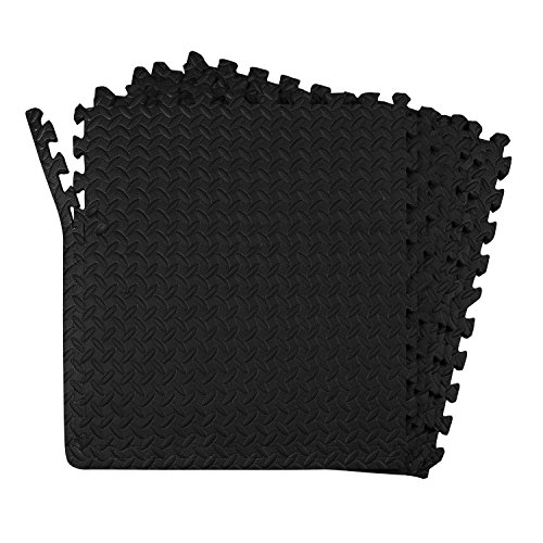 24-SQFT Dark Multi-purpose Floor Mat Anti-fatigue EVA Foam 6-tile Interlocking Tile with 10-boarder by Poco Divo