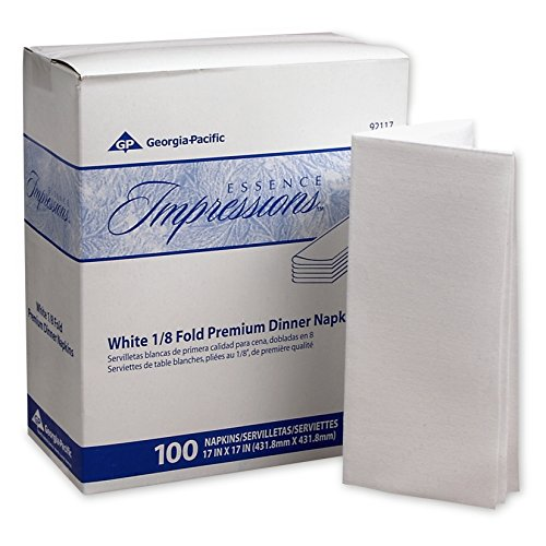 """Georgia-Pacific Essence Impressions 92117 White 1/8-Fold Linen Replacement Dinner Napkins, 17"""" Width x 17"""" Length (4 Boxes of 100)"""