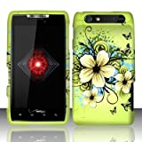 Motorola Droid Razr xt912 Accessory - Green Hibiscus Hawaii Flower Design Protective Hard Case Cover for Verizon + 4.5 INCHES Screen/Lens Cleaning Cloth