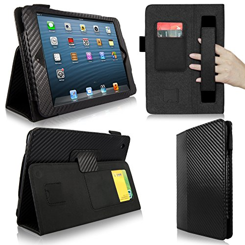 iPad Mini 2/3 case, Cellularvilla Premium PU Leather Flip Folding Smart Case with Elastic Hand Strap [Card Slot] Protective Stand Cover for Apple iPad Mini / Mini 2 / Mini 3 (Carbon Fiber Black) (Ipad Mini 3 Carbon Fiber Case compare prices)