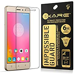 Lenovo K6 Power Tempered, iKare Impossible Fiber Tempered Glass Screen Protector for Lenovo K6 Power (REUSABLE, ULTRA CLEAR, REAL SHOCK PROOF, UNBREAKABLE)
