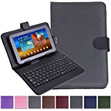 """HDE Diamond Stitch Folio Cover Case with Keyboard for 7"""" Tablet - Black"""