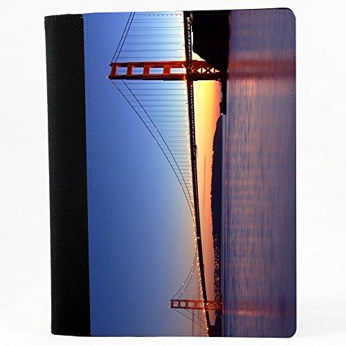 Citt 10016, Golden Gate Bridge, Nero Polyester Cartella Congressi block notes Taccuino con Fronte di Sublimazione e alta qualità Design Colorato.Dimensioni A4-320x240mm.