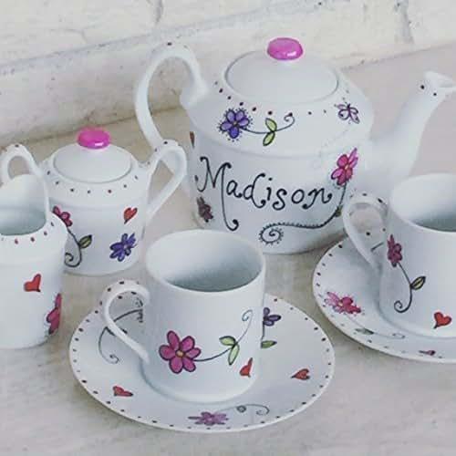 Amazon.com: Hand Painted Porcelain Child's tea set Personalized with