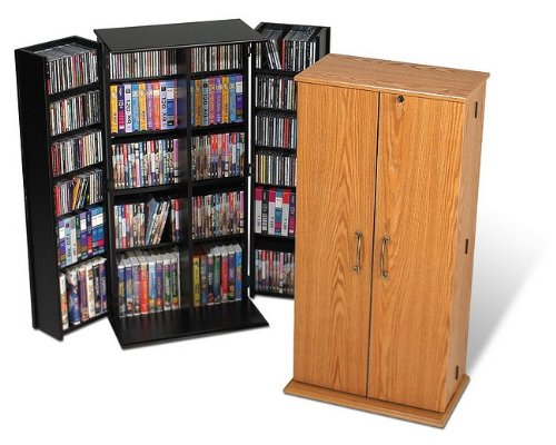 Best Buy Prepac Oak Tall Locking Media (DVD,CD,Games) Storage ...