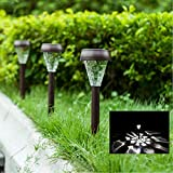 Garden Décor Solar Powered Lights- Set of 10- Decorative Stainless Steel Lamps- Wireless Outdoor Security Light- LED Accent Lighting- Best for Patio, Swimming Pool, Path, Yard, Deck, Driveway (Bronze)