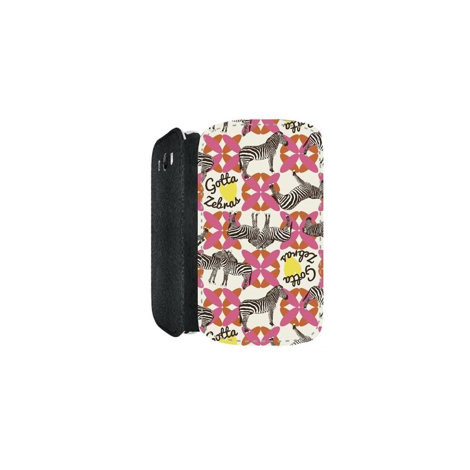 Gotta Love Zebras Animal Design Samsung Galaxy S3 i9300 PU Leather Flip Case Cover Designed by Patrícia Capella