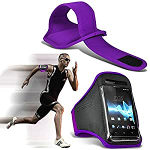 GBOS Samsung Galaxy Grand Max Adjustable Armband Gym Running Jogging Sports Case Cover Holder for Samsung Galaxy Grand Max Purple