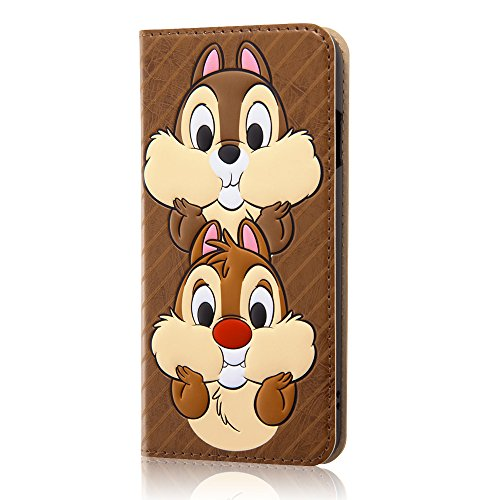 レイ・アウト iPhone7 ケース ディズニー 手帳型 レザーケース(ICカード /スタンド機能) ポップアップ フェイス/チップ&デール RT-DP12J/CD