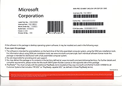 Microsoft Window's 10 Professional 64 Bit OEM DVD