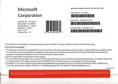 Sistema operativo:Windows 10 Pro - 64-bit, Lingua:Inglese, Tipo prodotto:Licenza, Media:DVD-ROM, Tipo licenza:1 licenza, Prezzo licenza:OEM, Ulteriori requisiti:DVD-ROM, scheda grafica compatibile DirectX 9.0, 800 x 600 di risoluzione monitor...