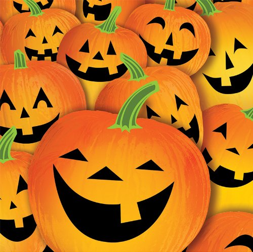 Creative Converting Halloween Pumpkin Tricks Lunch Napkins, 18-Count