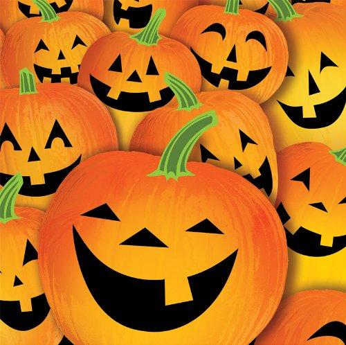 Creative Converting Halloween Pumpkin Tricks Lunch Napkins, 18-Count
