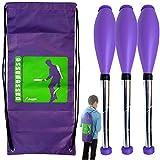 """Kit de 3 clubs de malabarismo """"perpetuos"""" Malabarismo 9 a 15 años, Violet 48 cm + mochila"""
