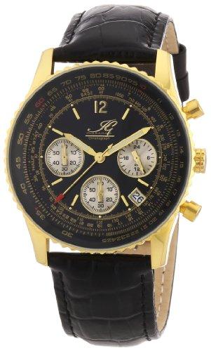 Ingraham - IG ATLA.1.600207 - Montre Homme - Quartz Chronographe - Chronomètre - Bracelet Cuir Noir