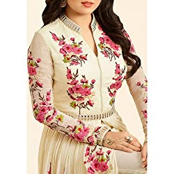 MR Fashion women''s Embroidered white salwar suit